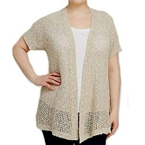 Eileen Fisher Loose Knit Open Front Linen Cardigan